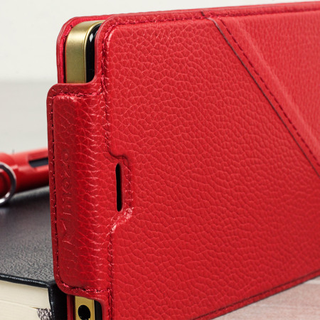 Mozo Microsoft Lumia 950 Genuine Leather Flip Cover - Red