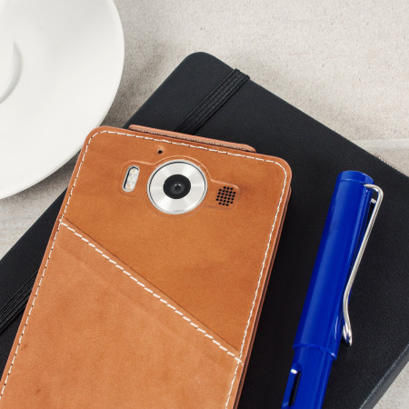 Mozo Microsoft Lumia 950 XL Genuine Leather Flip Cover - Cognac