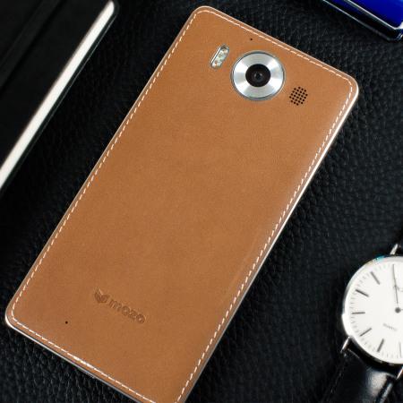 mozo 950  Mozo Microsoft Lumia 950 Wireless Charging Back Cover - Cognac