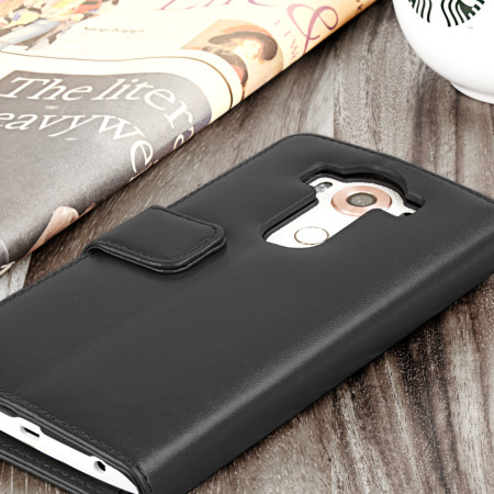 Olixar Genuine Leather LG V10 Wallet Case - Black