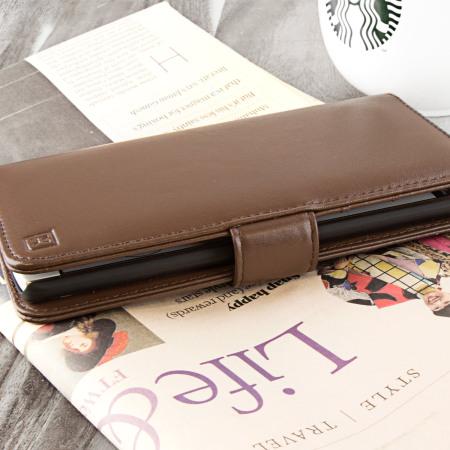 Olixar Genuine Leather LG V10  Wallet Case - Brown