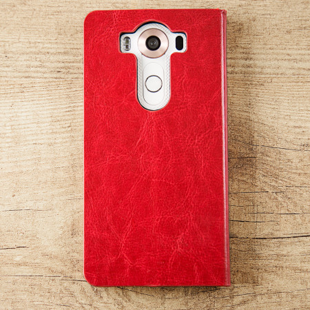 olixar leather style lg v10 wallet stand case red