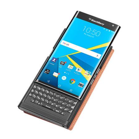 Official BlackBerry Priv Leather Flip Case - Brown