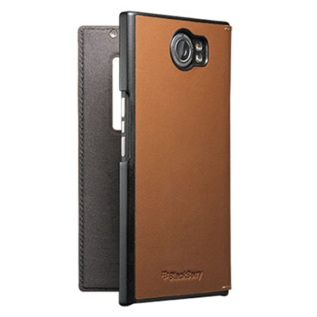 Official BlackBerry Priv Leather Flip Case - Brown