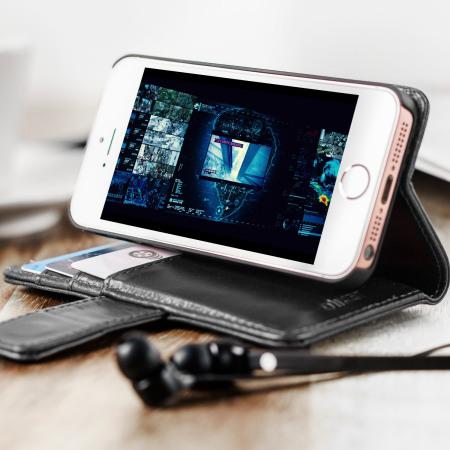 Olixar Genuine Leather iPhone 5S / 5 Wallet Case - Black