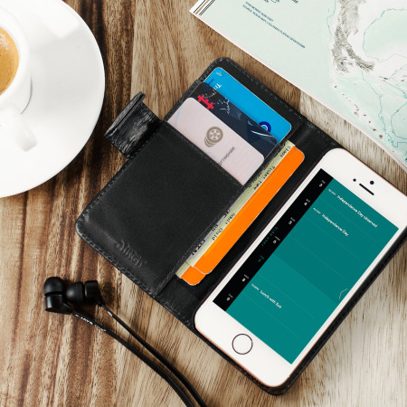 The front-facing olixar genuine leather iphone 5s 5 wallet case black three-quarters