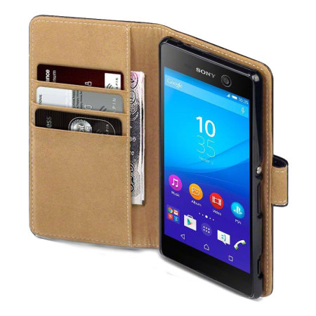 buy online fef2f 01ac3 Olixar Leather-Style Sony Xperia M5 Wallet Case - Black / Tan