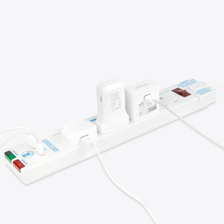 Masterplug Surge Protected 13A In Line Power Bar & 2x USB Ports - 2M