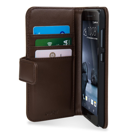 Olixar Premium HTC One A9 Genuine Leather Wallet Case - Brown