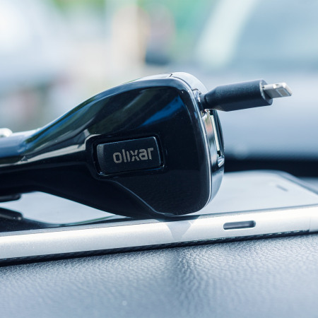 Olixar Retractable 3.4A Lightning In-Car Charger with USB Port