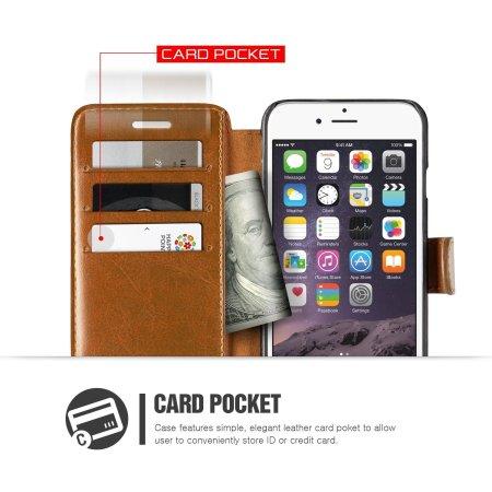 Verus Dandy Leather-Style iPhone 6S Plus/6 Plus Wallet Case - Brown