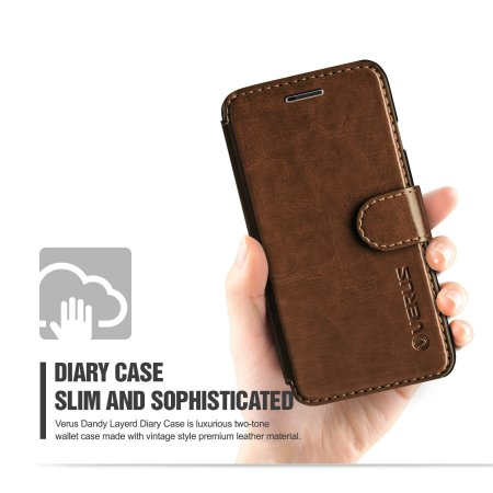 have verus dandy leather style iphone 6/6s wallet case brown can get variety