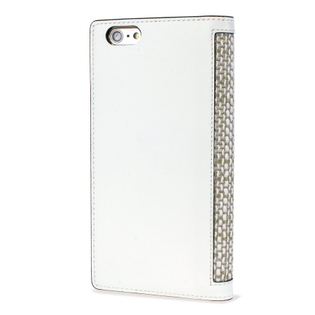 SLG Genuine Leather Fabric iPhone 6S Plus / 6 Plus Wallet Case - White
