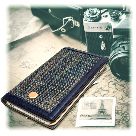 timeless design cb08e 2eae4 SLG Genuine Leather Fabric iPhone 6S Plus / 6 Plus Wallet Case - Navy