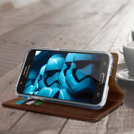 Mercury Blue Moon Flip Samsung Galaxy J5 2015 Wallet Case - Brown
