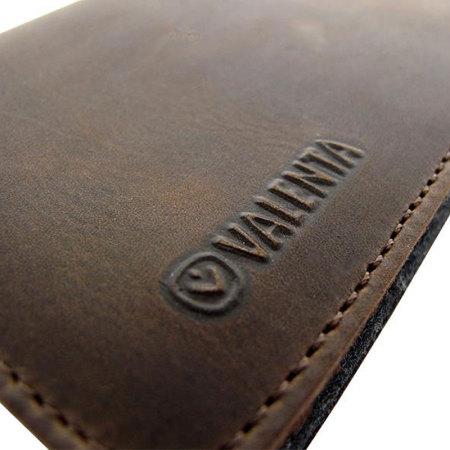 Valenta Universal 5 Inch Raw Genuine Leather Pouch - Vintage Brown