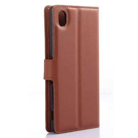 Olixar Leather-Style Sony Xperia M4 Aqua Wallet Case - Brown