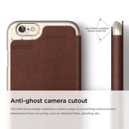 Elago iPhone 6S Plus / 6 Plus Leather Flip Case - Gold & Brown
