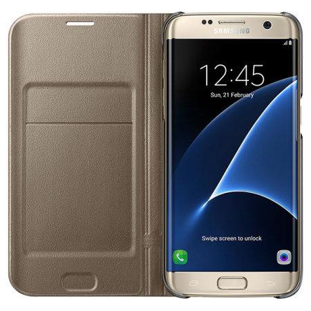 the latest 42566 e8e37 Official Samsung Galaxy S7 Edge Flip Wallet Cover - Gold
