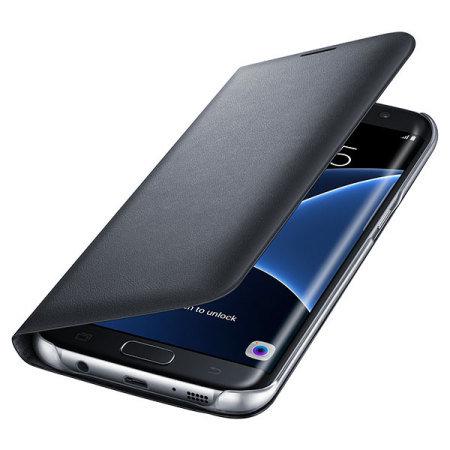 samsung edge. Official Samsung Galaxy S7 Edge LED Flip Wallet Cover - Black