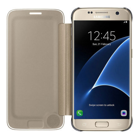 official samsung galaxy s7 clear view cover case   gold