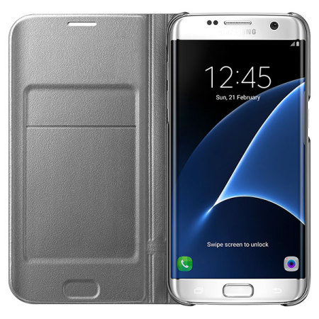 official samsung galaxy s7 edge led flip wallet cover silver
