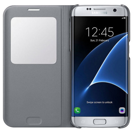official samsung galaxy s7 edge s view cover case silver
