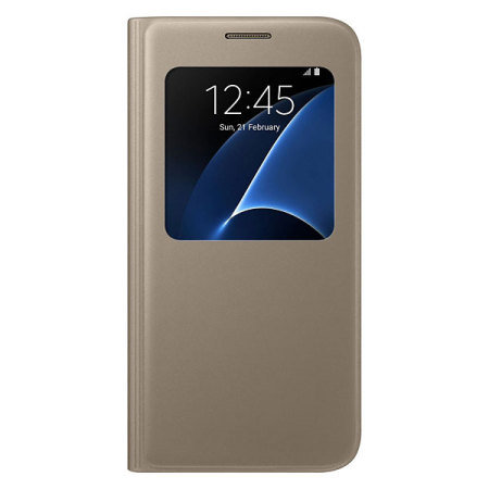 Official Samsung Galaxy S7 S View Premium Cover Case - Gold