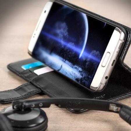 Olixar Genuine Leather Samsung Galaxy S7 Edge Wallet Case - Black