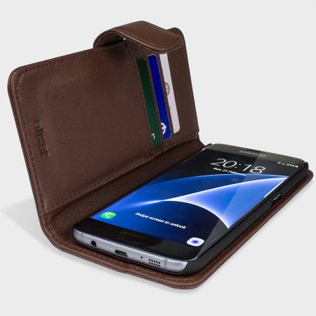 Olixar Genuine Leather Samsung Galaxy S7 Edge Wallet Case - Brown
