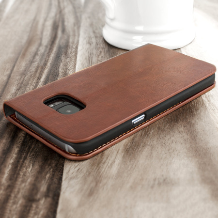 Olixar Leather-Style Samsung Galaxy S7 Wallet Stand Case - Brown