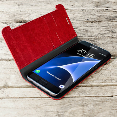 Olixar Leather-Style Samsung Galaxy S7 Edge Wallet Stand Case - Red