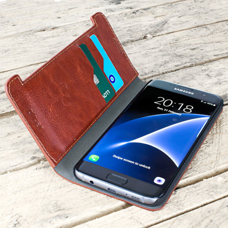 October olixar leather style samsung galaxy s7 edge wallet stand case brown are