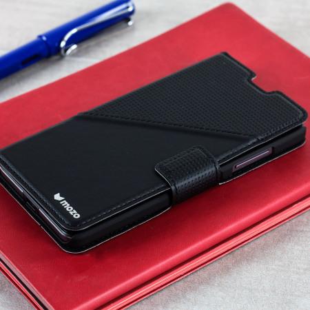 Mozo Microsoft Lumia 650 Leather-Style Thin Flip Case - Black