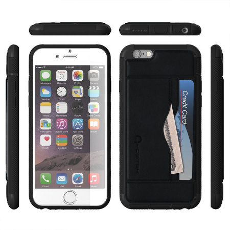 Ghostek Stash iPhone 6S / 6 Genuine Leather Wallet Case - Black