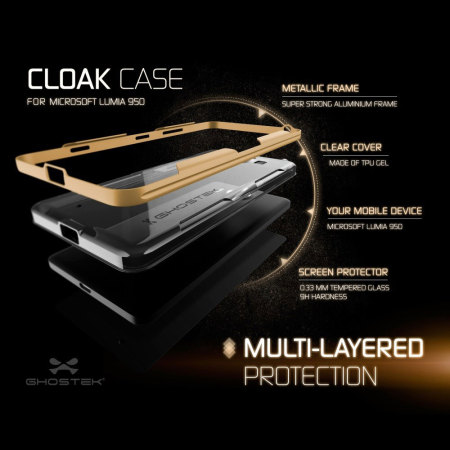 Ghostek Cloak Microsoft Lumia 950 Tough Case - Clear / Gold