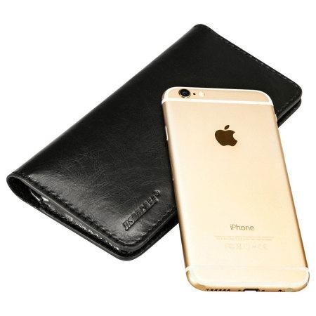 jison case genuine leather universal smartphone wallet case black thing