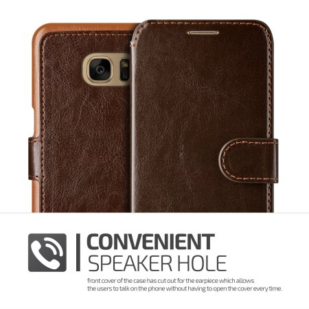 VRS Design Dandy Leather-Style Galaxy S7 Edge Wallet Case - Brown