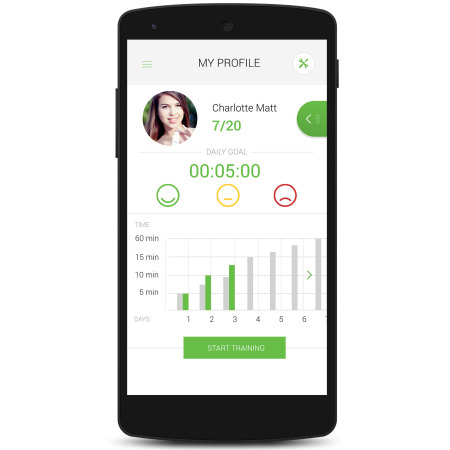 upright posture trainer for ios and android smartphones white