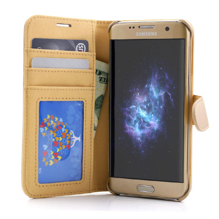 Prodigee Wallegee Samsung Galaxy S7 Edge Wallet & Hard Case - Gold