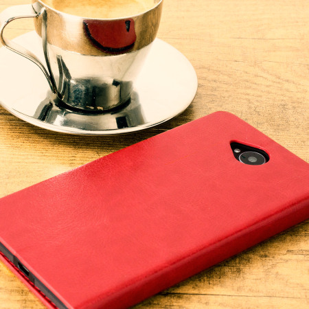 Olixar Leather-Style Microsoft Lumia 650 Wallet Stand Case - Red