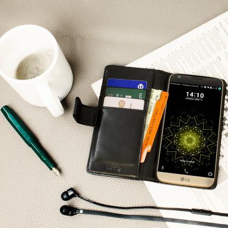 Olixar Genuine Leather LG G5 Wallet Case - Black