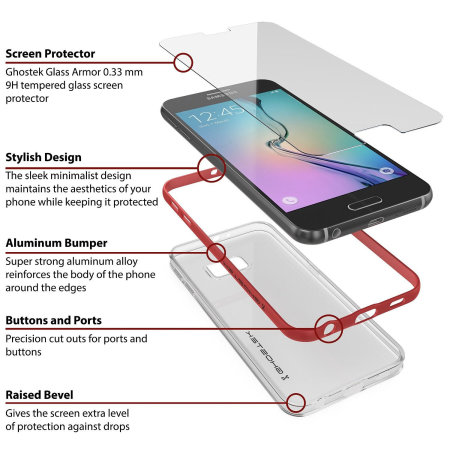 Ghostek Cloak Samsung Galaxy S6 Tough Case - Clear / Red