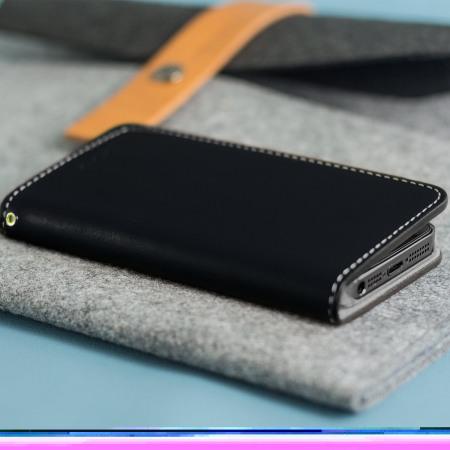 Moncabas Classic Genuine Leather iPhone SE Wallet Case - Black