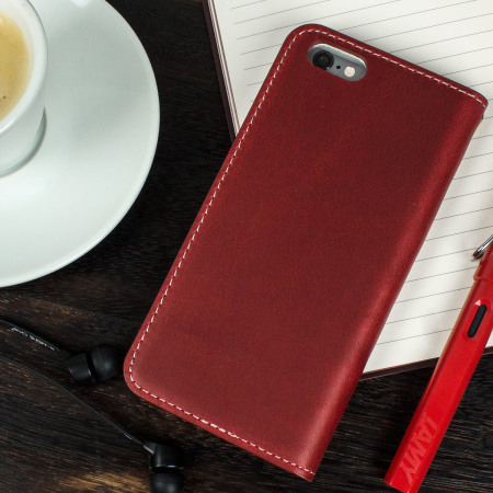 official photos 0cca7 a9414 Moncabas Vintage Genuine Leather iPhone 6S / 6 Wallet Case - Red