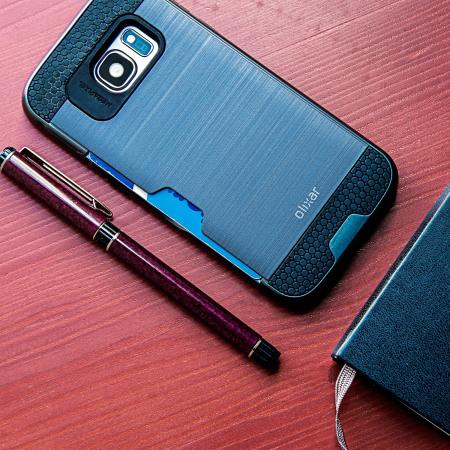 sale retailer 84367 1eb7a Olixar Brushed Metal Card Slot Samsung Galaxy S7 Case - Navy Blue