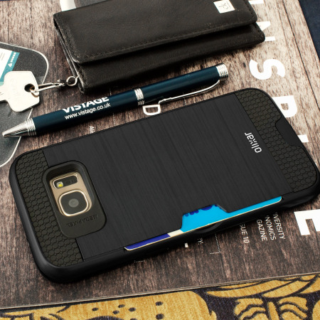 sports shoes c081a 54e4f Olixar Brushed Metal Card Slot Samsung Galaxy S7 Edge Case - Black