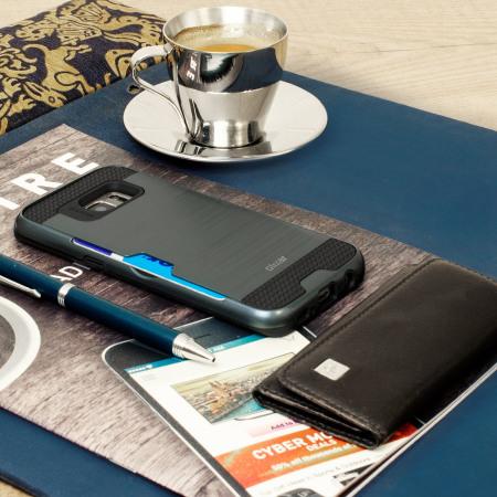 Coque Samsung Galaxy S7 Edge Olixar Style Métal Brossé - Bleue Marine
