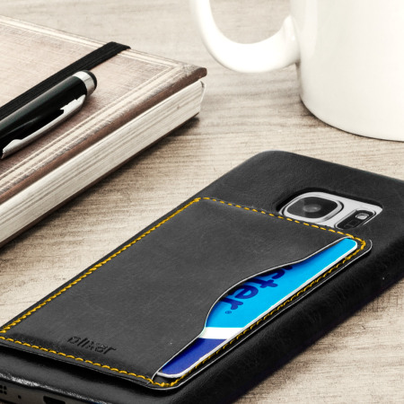 Olixar Leather-Style Samsung Galaxy S7 Card Slot Case - Black