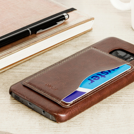 Olixar Leather-Style Samsung Galaxy S7 Card Slot Case - Brown